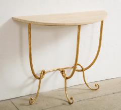 Italian Gilded Iron Demilune Console Table with Travertine Top - 1814590