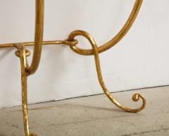 Italian Gilded Iron Demilune Console Table with Travertine Top - 1814591