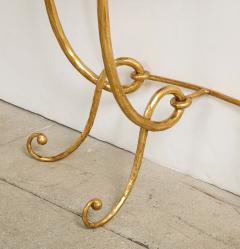 Italian Gilded Iron Demilune Console Table with Travertine Top - 1814593