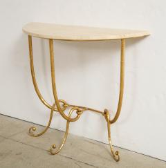 Italian Gilded Iron Demilune Console Table with Travertine Top - 1814595