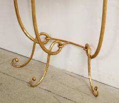Italian Gilded Iron Demilune Console Table with Travertine Top - 1814596