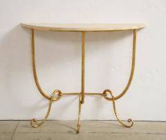 Italian Gilded Iron Demilune Console Table with Travertine Top - 1814597
