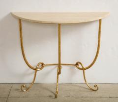 Italian Gilded Iron Demilune Console Table with Travertine Top - 1814598
