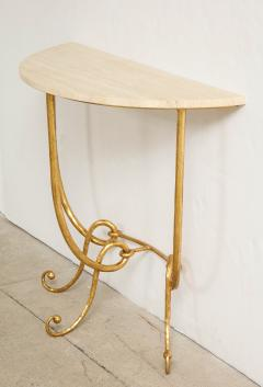 Italian Gilded Iron Demilune Console Table with Travertine Top - 1814603
