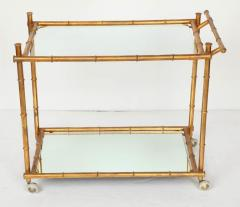 Italian Gilt Iron Stylized Bamboo Serving Bar Cart - 913245