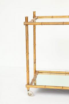 Italian Gilt Iron Stylized Bamboo Serving Bar Cart - 913249