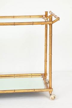 Italian Gilt Iron Stylized Bamboo Serving Bar Cart - 913250
