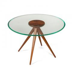 Italian Glass and Mahogany Round Occasional Table in the Manner of Pietro Chiesa - 876698