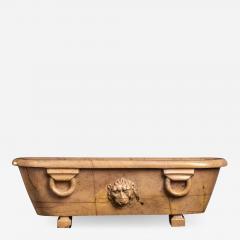Italian Grand Tour Specimen Giallo Antico Marble Bath Centered With A Lion Head - 1953484