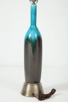 Italian Gunmetal Turquoise Ceramic Lamps - 877541