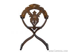 Italian Inlaid Folding Savonarola Chair - 1992687