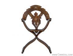 Italian Inlaid Folding Savonarola Chair - 1992688