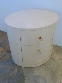 Italian Inspired 1970s Style Oval Nightstand - 1465632