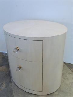 Italian Inspired 1970s Style Oval Nightstand - 1465633