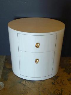 Italian Inspired 1970s Style Oval Nightstand - 1465634