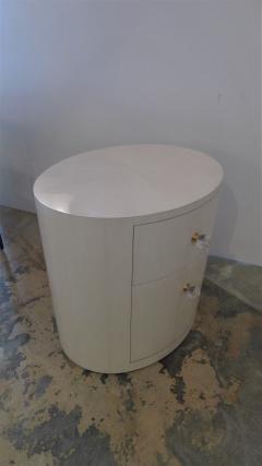 Italian Inspired 1970s Style Oval Nightstand - 1465636