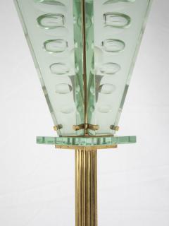 Italian Lantern Floor lamp in Brass and Cut Glass 1940s - 752705