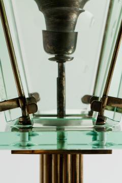 Italian Lantern Floor lamp in Brass and Cut Glass 1940s - 752710