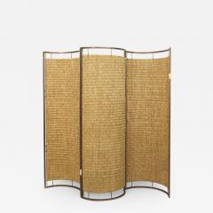 Italian Mid Century 3 Concave Panel Woven Rattan Screen - 472031