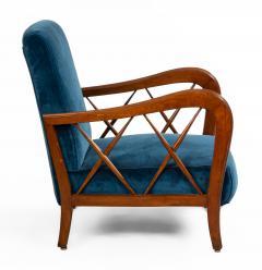 Italian Mid Century Blue Velvet and Walnut Lounge Armchairs - 1278733