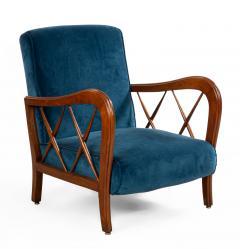 Italian Mid Century Blue Velvet and Walnut Lounge Armchairs - 1278734