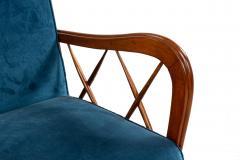 Italian Mid Century Blue Velvet and Walnut Lounge Armchairs - 1278735
