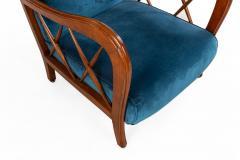 Italian Mid Century Blue Velvet and Walnut Lounge Armchairs - 1278738
