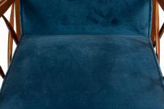 Italian Mid Century Blue Velvet and Walnut Lounge Armchairs - 1278739