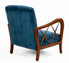 Italian Mid Century Blue Velvet and Walnut Lounge Armchairs - 1278740