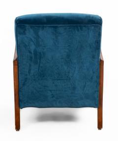 Italian Mid Century Blue Velvet and Walnut Lounge Armchairs - 1278741