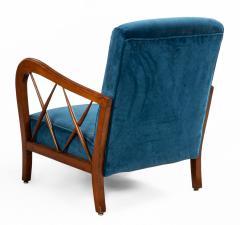 Italian Mid Century Blue Velvet and Walnut Lounge Armchairs - 1278742