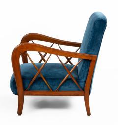 Italian Mid Century Blue Velvet and Walnut Lounge Armchairs - 1278744