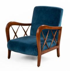 Italian Mid Century Blue Velvet and Walnut Lounge Armchairs - 1278748