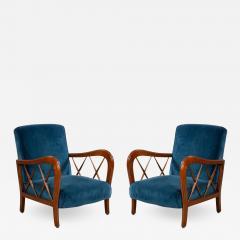Italian Mid Century Blue Velvet and Walnut Lounge Armchairs - 1280118