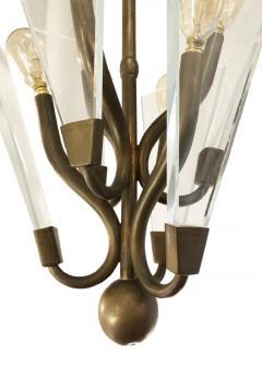 Italian Mid Century Bronze and Glass Pendant - 1573326