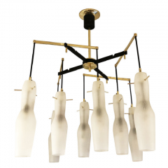 Italian Mid Century Chandelier with Fluted Glass Shades - 973101