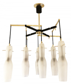 Italian Mid Century Chandelier with Fluted Glass Shades - 973102