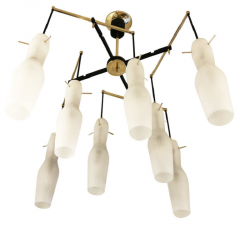 Italian Mid Century Chandelier with Fluted Glass Shades - 973103