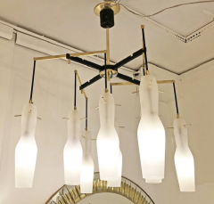 Italian Mid Century Chandelier with Fluted Glass Shades - 973104