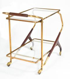 Italian Mid Century brass and mahogany drinks trolley - 1281288