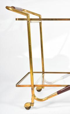 Italian Mid Century brass and mahogany drinks trolley - 1281291