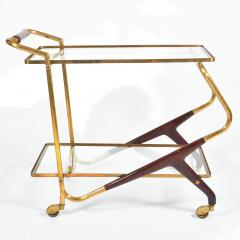 Italian Mid Century brass and mahogany drinks trolley - 1281292