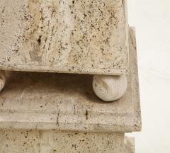 Italian Minimalist Roman Travertine Obelisk Italy 1970 - 2066658