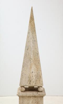 Italian Minimalist Roman Travertine Obelisk Italy 1970 - 2066660