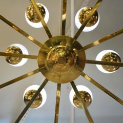 Italian Modern 24 Light Brass Smoked Ivory Gold Murano Glass Round Chandelier - 1244021