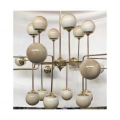Italian Modern 24 Light Brass Smoked Ivory Gold Murano Glass Round Chandelier - 1244023