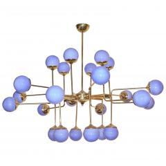 Italian Modern 24 Light Brass Smoked Ivory Gold Murano Glass Round Chandelier - 1244025