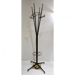Italian Modern Black Lacquered And Brass Coat Rack Umbrella Stand