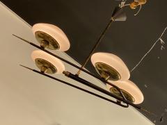 Italian Modern Brass Metal and Frosted Glass 4 light Chandelier Stilnovo - 2094095