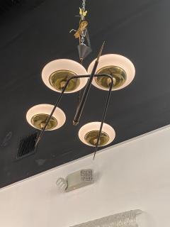 Italian Modern Brass Metal and Frosted Glass 4 light Chandelier Stilnovo - 2094096